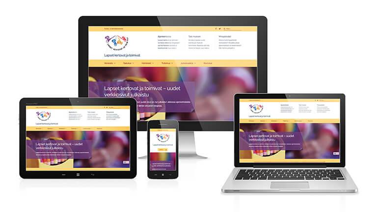 Lapset kertovat -yhdistyksen verkkosivut eri kokoisilla näytöillä