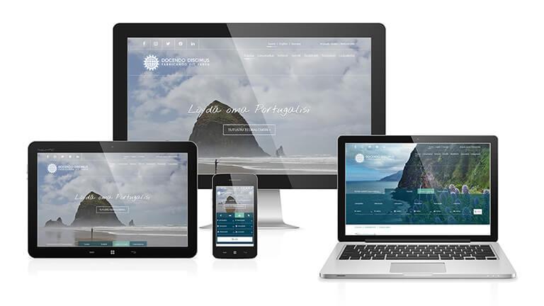 Matkatoimiston verkkosivut eri kokoisilla näytöillä