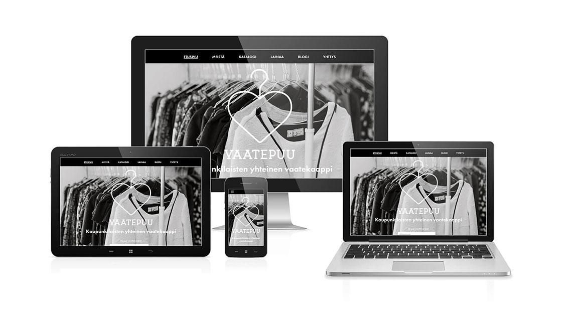 Vaatepuun responsiiviset verkkosivut kaikilla laitteilla esitettynä