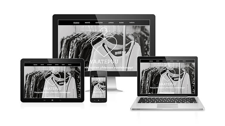 Vaatepuun verkkosivut eri kokoisilla näytöillä