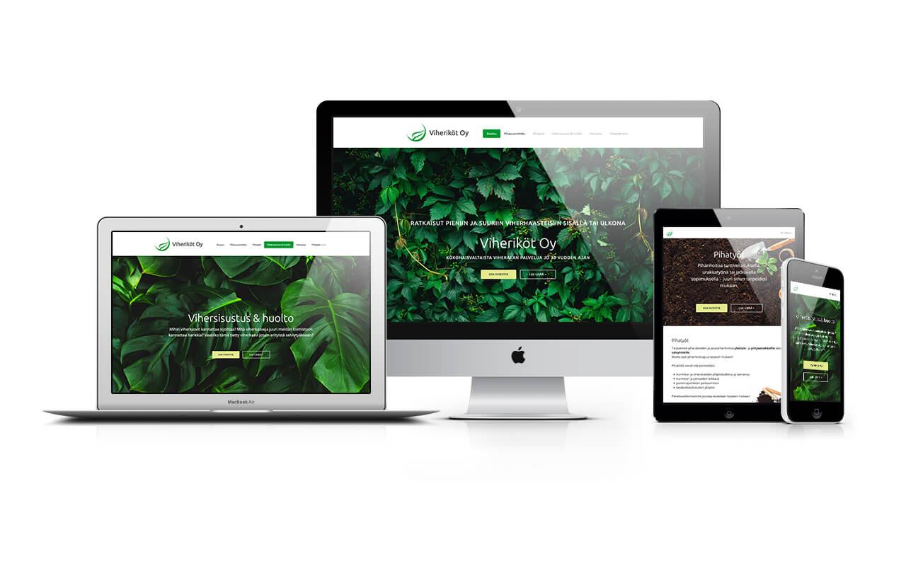 Viheriköt Oy:n verkkosivusto eri laitteilla katsottuna